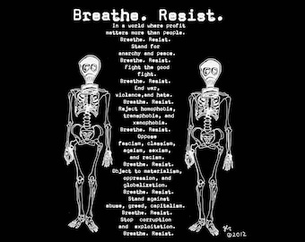 Art Punk Shirts Punk Shirt Print Breathe. Resist. Punk. Anarchy. DIY Crust Anarchist Anarcho Peace Gas Masks Skeletons Shirt