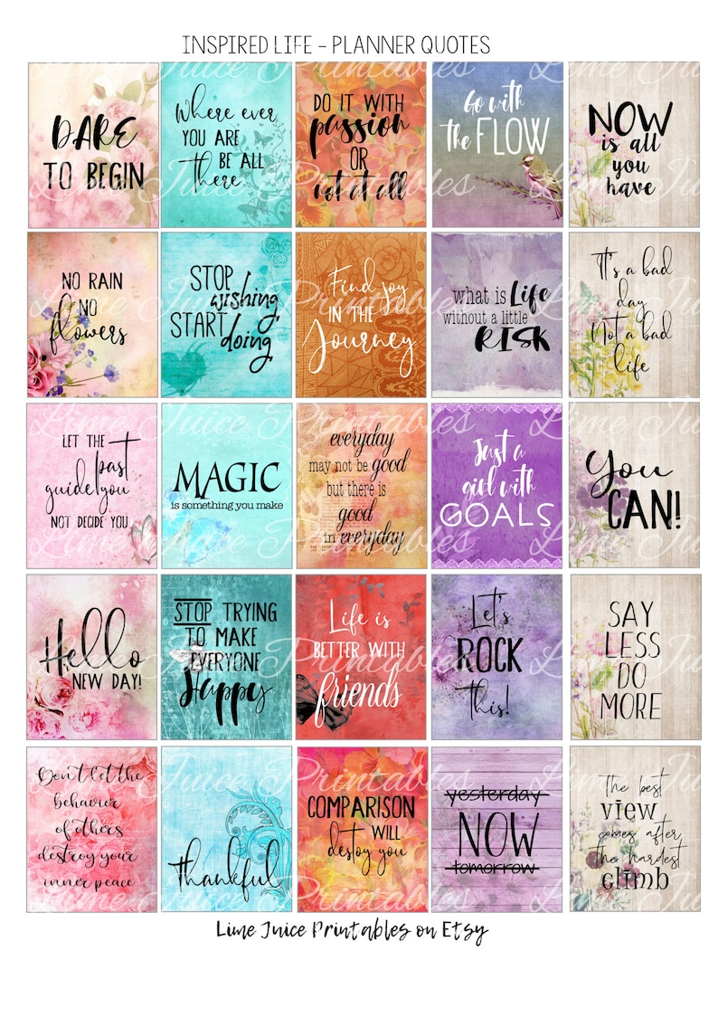 image about Printable Inspirational Quotes Pdf called Printable INSPIRATIONAL Planner QuotesQuote StickersPrintable Planner StickersPlanner AccessoriesLife QuotesMotivational Offers