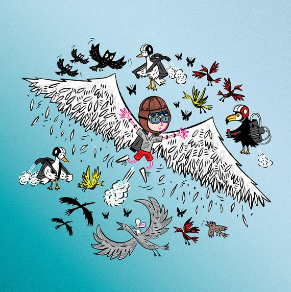 Learning To Fly - children's art poster print by Oliver Lake - iOTA iLLUSTRATiON