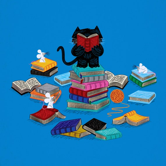 Puss In Books -  art poster print by Oliver Lake - iOTA iLLUSTRATiON