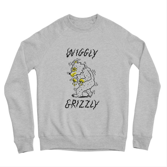Wiggly Grizzly, Men's / Women's, Unisex sweatshirt, Heather Grey Triblend, by Oliver Lake