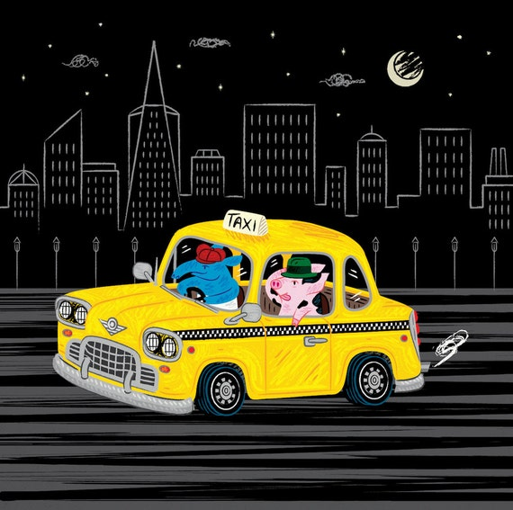 Taxi Ride -  children's room decor - animal illustration - wall art - black and yellow - art poster print by Oliver Lake - iOTA iLLUSTRATiON