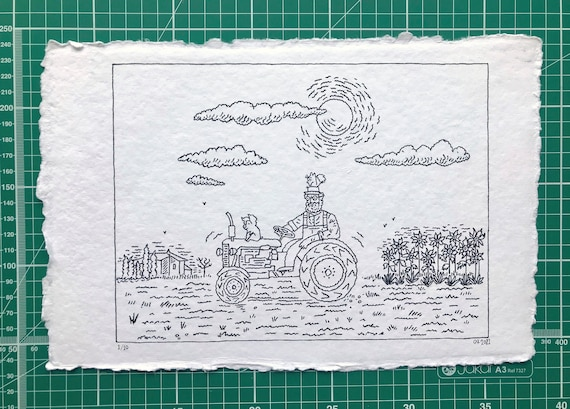 Down on the Farm, original pen and ink, drawing, children's art, 1 of 10 by Oliver Lake