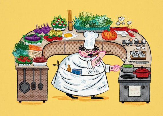YES CHEF! - cooking / food - art poster print by Oliver Lake - iOTA iLLUSTRATiON