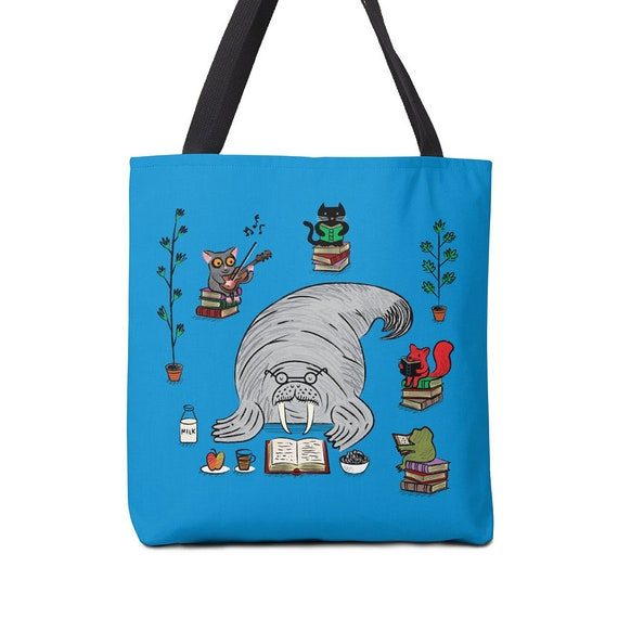 "Quiet Time - Walrus Tote Bag - Book Bag - Record bag - 13"" x 13"" - 16"" x 16"" - 18"" x 18"""