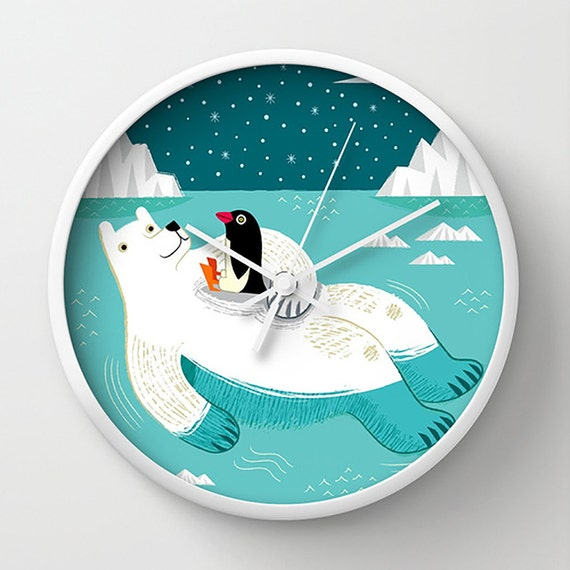 Hitching A Ride - wall clock - Nursery Decor - children's illustrated wall clocks - by Oliver Lake - iOTA iLLUSTRATiON