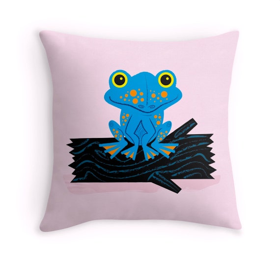 "Frog On a Log - Pink - Nature / Wildlife - Throw Pillow / Cushion Cover - childrens decor (16"" x 16"") by Oliver Lake"