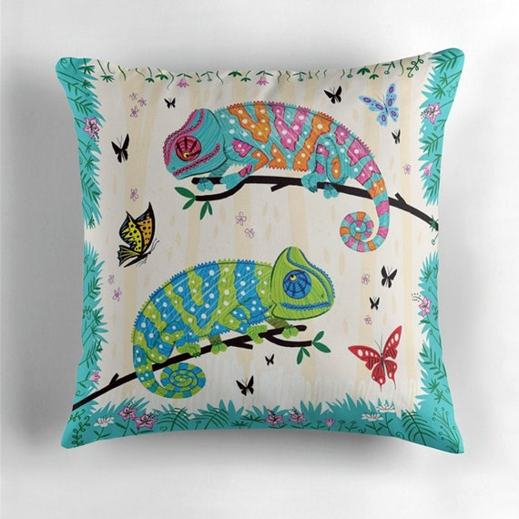 Chameleons - Seeing Spots - throw pillow cover - throw cushion cover children's decor including insert by Oliver Lake  iOTA iLLUSTRATION