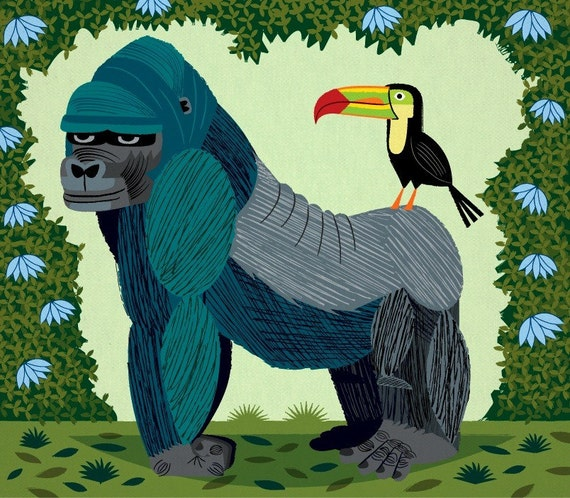 iOTA iLLUSTRATION - The Gorilla and The Toucan - Limited Edition - Children's Animal Art - illustrated Print