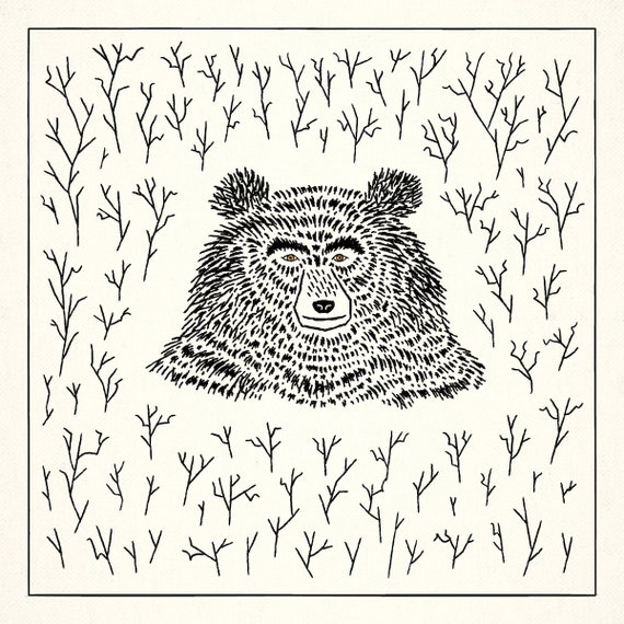 The Bear Among The Branches - art poster print by Oliver Lake - iOTA iLLUSTRATiON