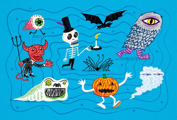 The Halloween Parade - Limited Edition children's illustration print by Oliver Lake - iOTA iLLUSTRATION