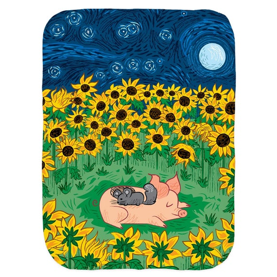 Among The Sunflowers - Baby Blanket - Swaddle Blanket - Babies Blanket - Baby Rug Swaddle Blankets By Oliver Lake Iota Illustration