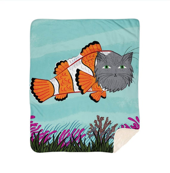 "Catfish - children's sherpa blanket - 60"" x 80"" / 50"" x 60""  by Oliver Lake iOTA iLLUSTRATiON"