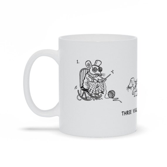 Three Visually Impaired Mice - Funny Coffee Mug - Work Mug - Office Mug - Monochrome Mug