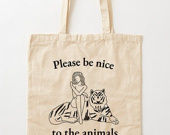 """Please Be Nice To The Animals (No.2), Grocery Bag, Shopping Tote, Book Bag , Tote Bag, Record bag - 15.25""""  x 15.75"""" (38.5cm x 40cm)"""