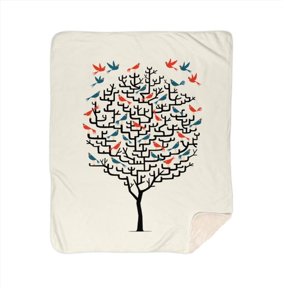 "Out On a Lark - children's sherpa blanket - nursery decor - 50""x 60"" and 60"" x 80""  by Oliver Lake iOTA iLLUSTRATiON"