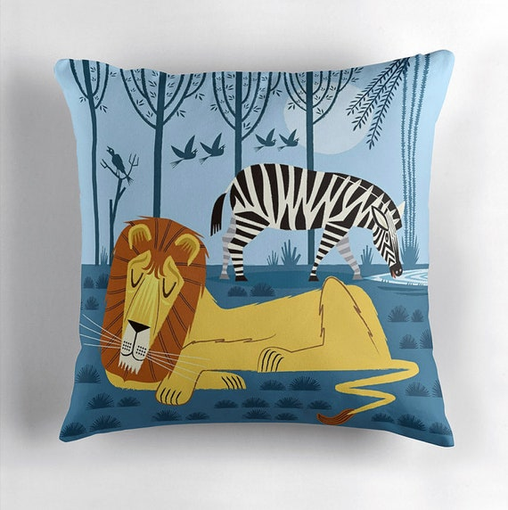 Whilst the Lion Sleeps -  children's throw pillow cover including insert by Oliver Lake iOTA iLLUSTRATION