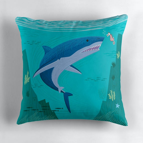 "The Shark and The Seahorse - Throw Pillow / Cushion Cover (16"" x 16"") by Oliver Lake"