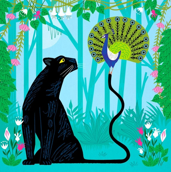 The Peacock and The Panther - nature wildlife - animal poster print - children's room decor - by Oliver Lake - iOTA iLLUSTRATiON