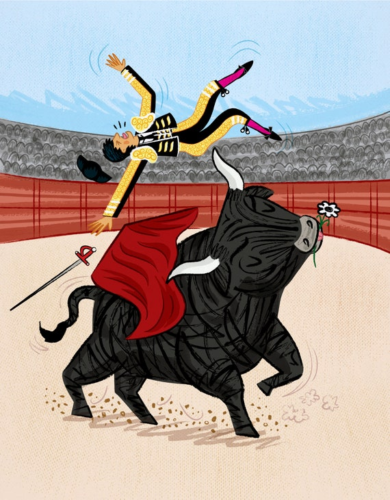 Death Of A Matador - ban bull fighting - art poster print by Oliver Lake - iOTA iLLUSTRATiON
