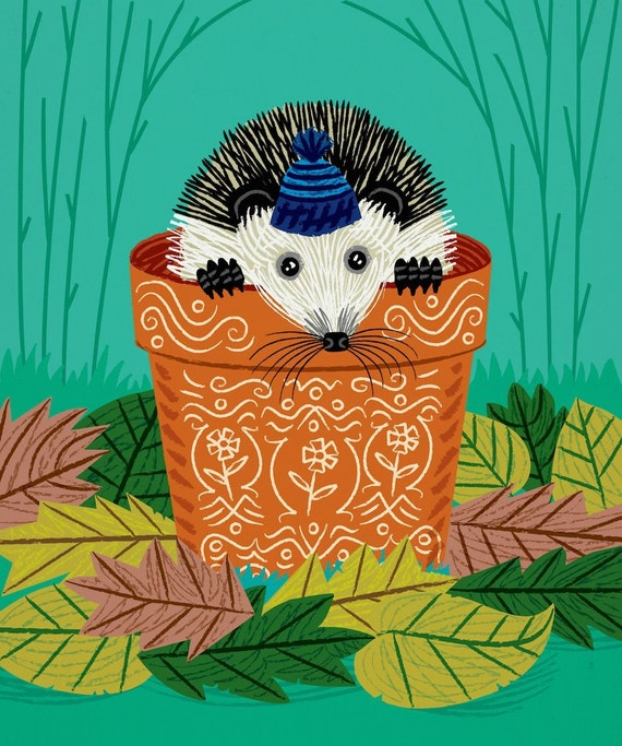 A Hedgehog's Home - children's animal art - wildlife / nature - nursery decor - wall art print
