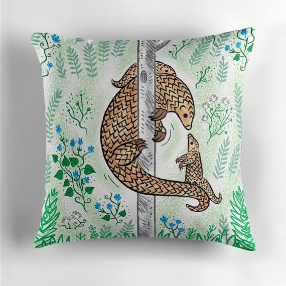 Pangolin Parenting - throw pillow cover / cushion cover by Oliver Lake iOTA iLLUSTRATION