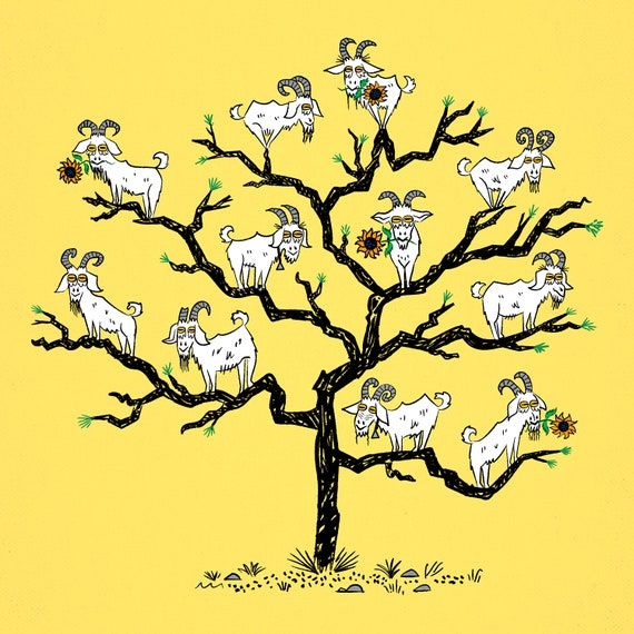The Goat Tree - Animal Art Poster Print by Oliver Lake - iOTA iLLUSTRATiON
