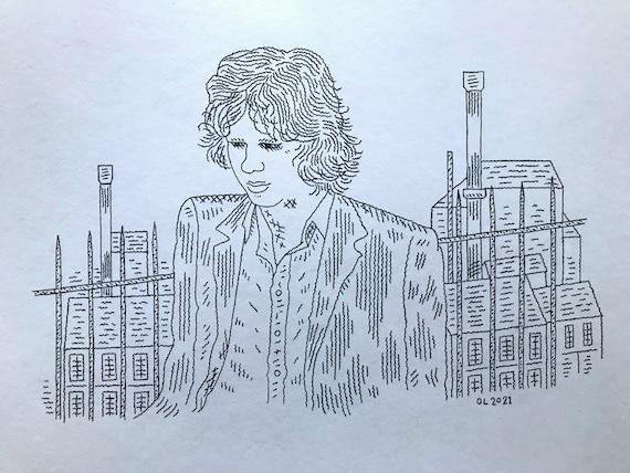 Nick Drake, original drawing, hand drawn art, portrait, by Oliver Lake 1 of 5