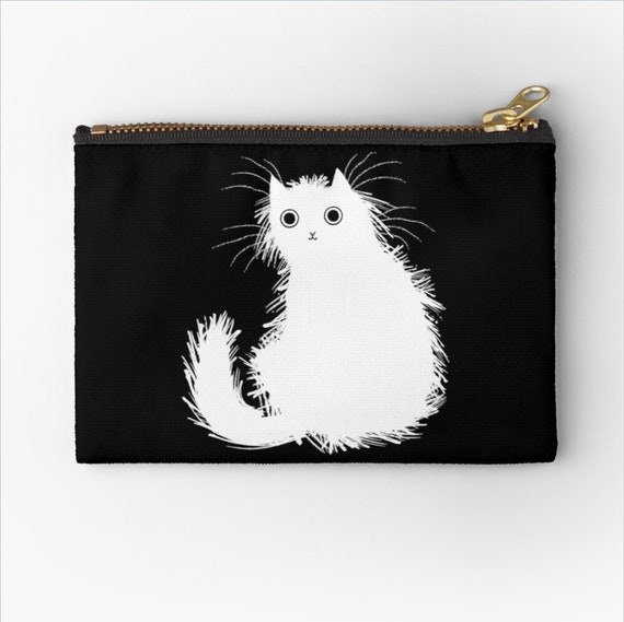 "Moggy (No.1) - cat coin purse zip pouch kitten pencil case - make up bag - 6"" x 4""  / 9.5"" x 6"" / 12.4"" x 8.5"" Oliver Lake iOTA iLLUSTRATiON"