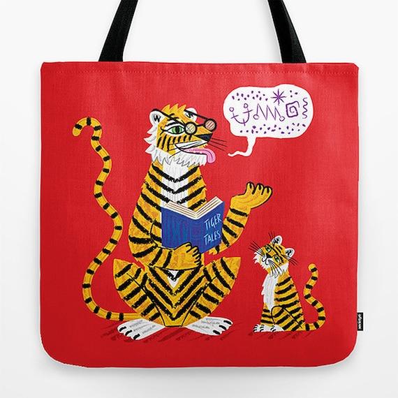 "Tiger Tales - Red Childrens Tote Bag - Book Bag -  Record bag - 18"" x 18"""