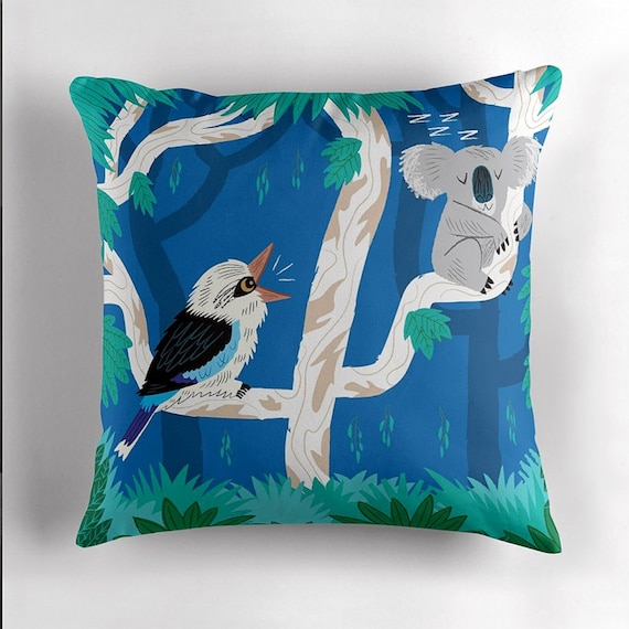 The Koala and the Kookaburra - Children's - Dark Blue - Throw Pillow / Cushion Cover by Oliver Lake - iOTA iLLUSTRATION