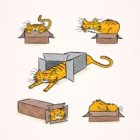 Marmalade - cats in boxes - animal art poster print by Oliver Lake - iOTA iLLUSTRATiON