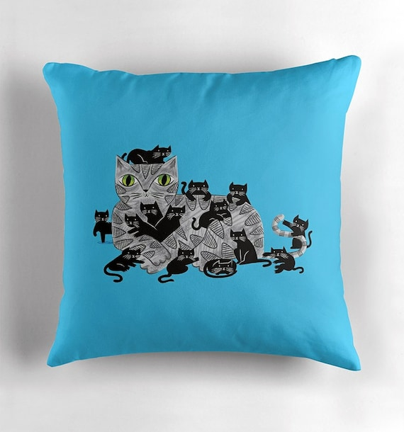 "Kitten Litter - Throw Pillow / Cushion Cover (16"" x 16"") by Oliver Lake / iOTA iLLUSTRATION"
