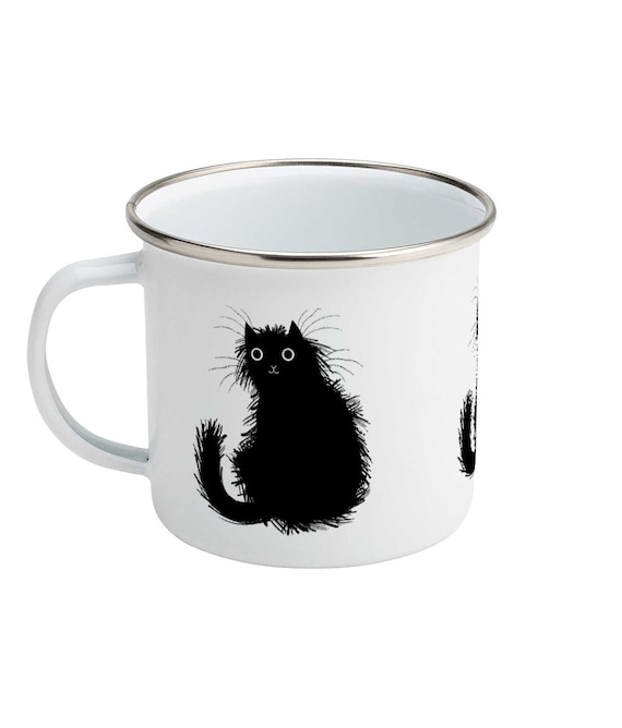 Moggy (No.1), Black cat, Enamel Camping Mug, Kitten Design, Illustrated Mug by Oliver Lake
