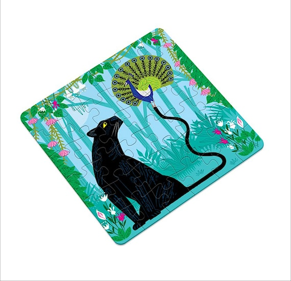 The Peacock and the Panther, jigsaw puzzle, wildlife puzzles, 16 pieces, 36 pieces by Oliver Lake