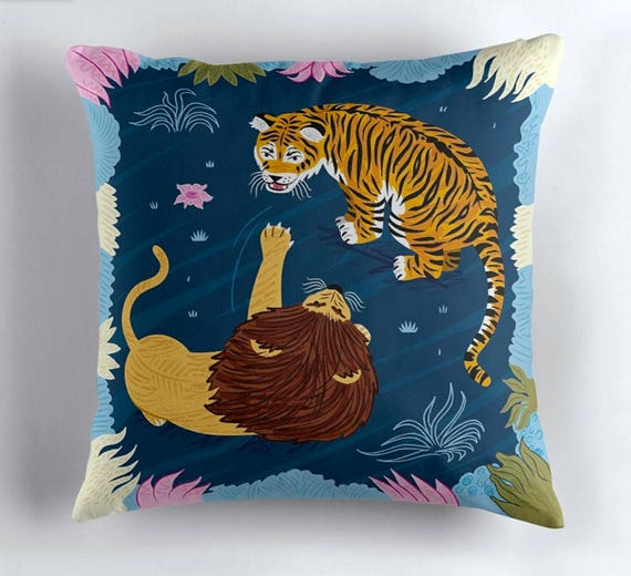 Rumble In The Jungle - Lion / Tiger - throw pillow cover / cushion cover by Oliver Lake iOTA iLLUSTRATION
