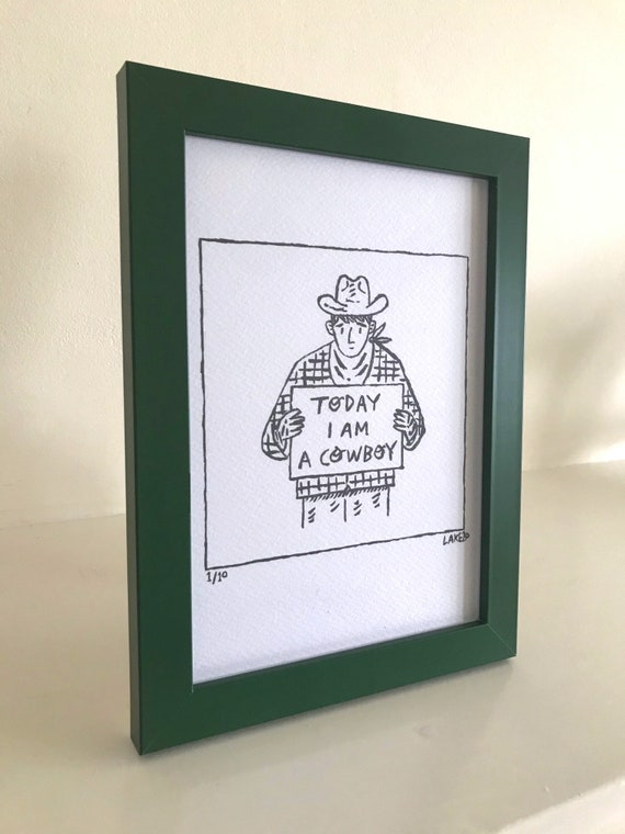 Today I Am A Cowboy, portrait, original Drawing, comic, funny portrait, framed drawing, green frame, 1 of 10 by Oliver Lake, Christmas Gift