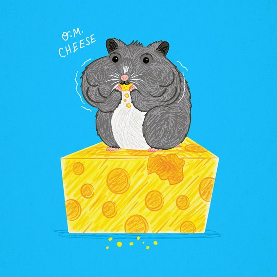 O.M. Cheese - Animal Art Poster Print by Oliver Lake - iOTA iLLUSTRATiON