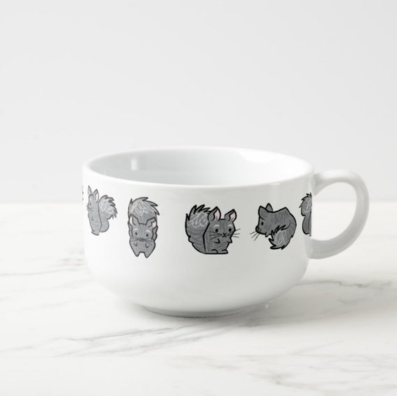 All Chinchilla No Filla - porcelain Soup Mug / Cereal Bowl / Food bowl - animal design by Oliver Lake iOTA iLLUSTRATiON