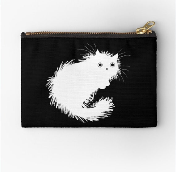 "Moggy (No.2) - cat zipper pouch coin purse make up bag - pencil case - 6"" x 4""  / 9.5"" x 6"" / 12.4"" x 8.5"" Oliver Lake iOTA iLLUSTRATiON"