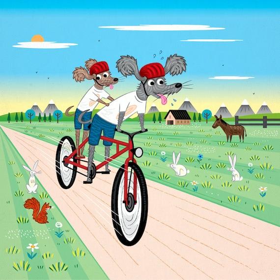 Dog Days - bicycle art - animal art poster print by Oliver Lake