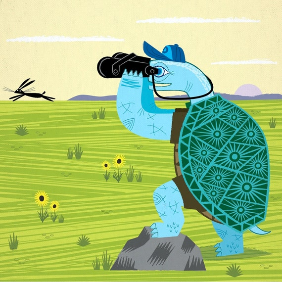 Children's room decor - The Tortoise and The Hare - Animal art - children's art Limited Edition Print iOTA iLLUSTRATION -