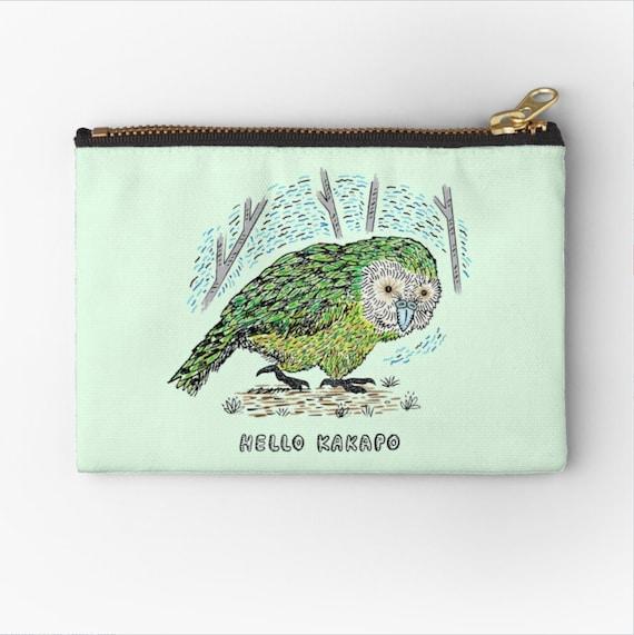 "Hello Kakapo - coin purse - zipper pouch - pencil case - make up bag - 6"" x 4""  / 9.5"" x 6"" / 12.4"" x 8.5"" Oliver Lake iOTA iLLUSTRATiON"