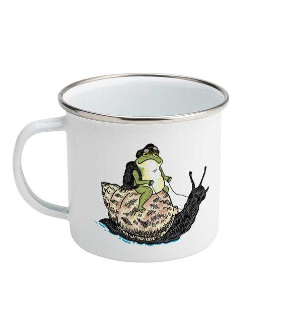 The Snail and The Frog - Enamel Camping Mug - Animal Design - Illustrated Mug by Oliver Lake