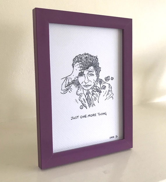 Just One More Thing, Columbo portrait, original Drawing, framed drawing, purple frame, 1 of 10 by Oliver Lake, Christmas Gift