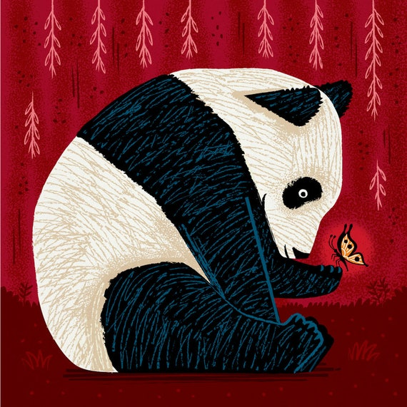 The Panda and The Butterfly - pandas / butterflies - animal art print by Oliver Lake - iOTA iLLUSTRATiON