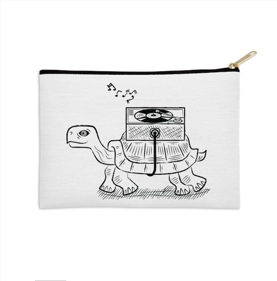 "Tortoise Wax - zip pouch - pencil case - make up bag - 8.5"" x 6"" / 12.5"" x 8.5"""