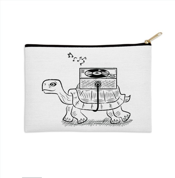 "Tortoise Wax - zip pouch - pencil case - make up bag - 8.5"" x 6"" / 12.5"" x 8.5"" by Oliver Lake iOTA iLLUSTRATiON"