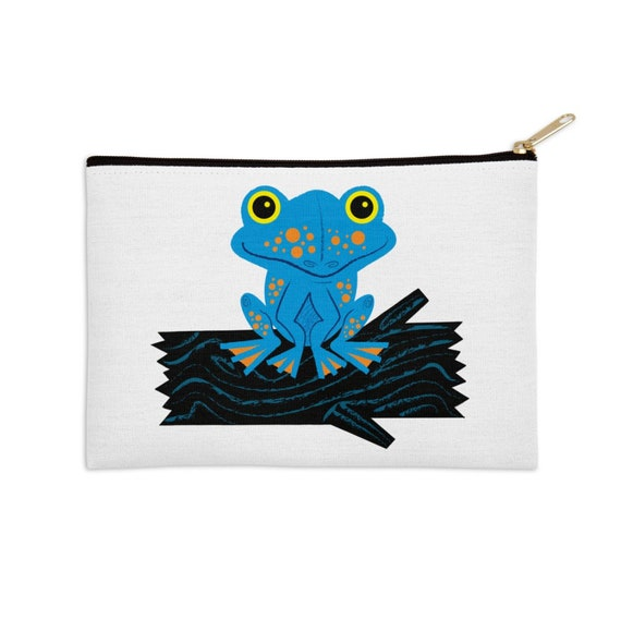 "Frog On a Log - pencil case - zip pouch - 8.5"" x 6"" / 12.5"" x 8.5"""