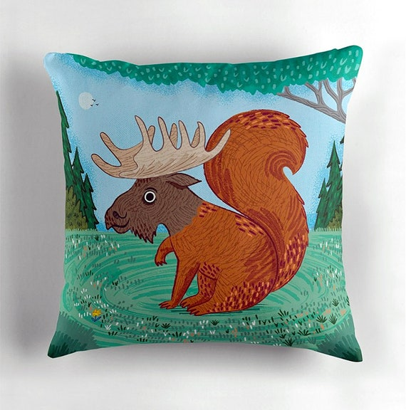 "The Squoose - squirrel / moose - Pillow Cover / Throw Cushion Cover - Nursery Decor - Children's room - (16"" x 16"") by Oliver Lake"